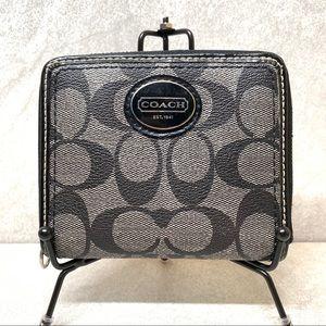 Coach gray signature zip around medium wallet